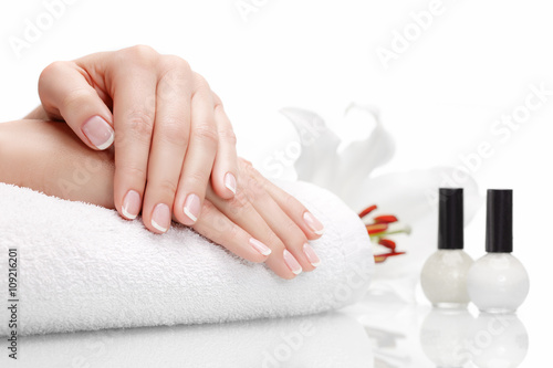 Staande foto Manicure Beautiful hands with french manicure