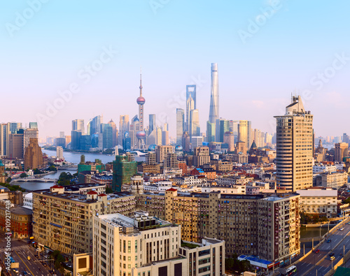 Poster Wide panoramic view of Shanghai skyline.
