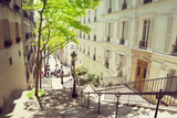 Fototapety morning Montmartre staircase in Paris, France