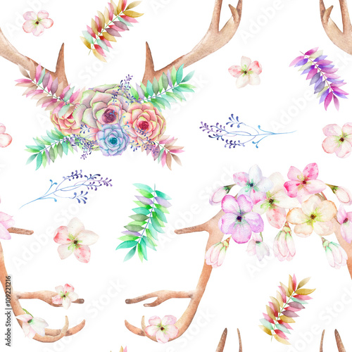 A seamless pattern with the antlers, entwined succulents, flowers, leaves and branches, for decoration, isolated hand drawn on a white background, wedding design - 109221216