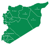 Syria Map with States and Cities