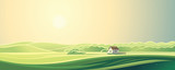 Rural landscape with one house. Summer morning, the sunrise.