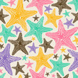 Retro Seamless Pattern Of Colorful Starfish.