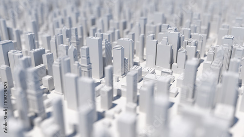 abstract city 3d rendering background with depth of field macro effect - 109229620