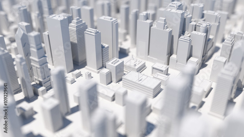 abstract city 3d rendering background with depth of field macro effect
