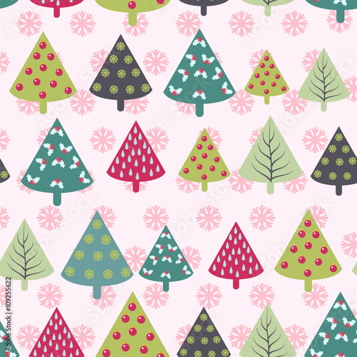 Materiał do szycia seamless Christmas pattern -  Xmas trees and snowflakes