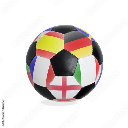 Poster Fußball mit Flaggen verschiedener klassischer Nationen - Freisteller