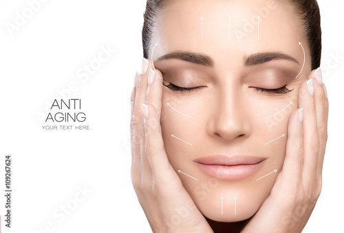 Surgery and Anti Aging Concept. Beauty Face Spa Woman