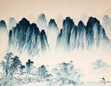 Fototapety Chinese landscape watercolor painting