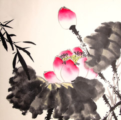 ink lotus painting hand drawn