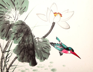 ink lotus painting hand drawn bird
