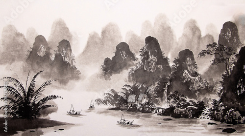 Click For Wall Decals Price Chinese Landscape Watercolor Painting