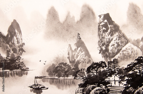 Juliste Chinese landscape watercolor painting