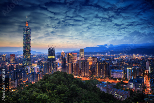Beautiful sunset of Taipei, Taiwan city skyline Poster