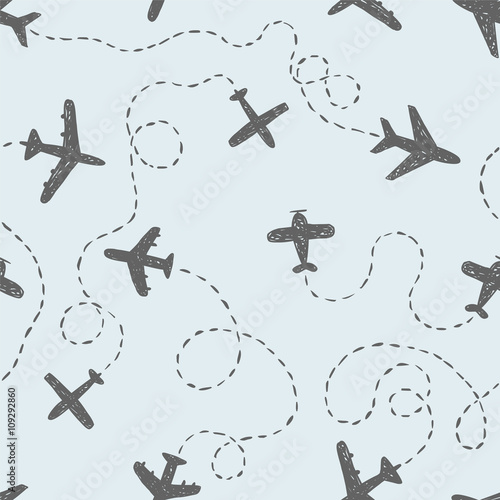 Cotton fabric Seamless pattern - doodle airplanes with ways