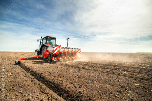 Poster seeding crops at field