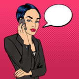 Business Lady Talking on the Phone. Attractive Businesswoman. Pop Art