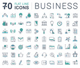Fototapety Set Vector Flat Line Icons Business