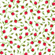 Vector seamless pattern with red rose buds on a white background.