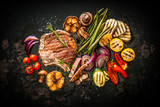 Fototapety Beef steak with grilled vegetables