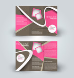 Brochure mock up design template for business, education, advertisement. Trifold booklet editable printable vector illustration. Pink and brown color.