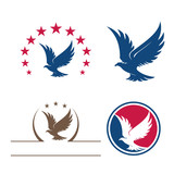 Eagle Star Bird Flying Logo Symbol Bundle Set