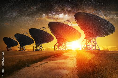 Satellite dish view at night