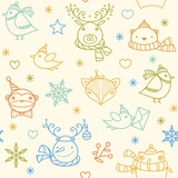 Christmas cute cartoon animals - birds, fox, bear, owl, snowman, snowflakes, stars. Seasonal winter icons set.