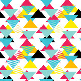 Fototapety Seamless geometric pattern with magenta, blue, yellow triangles in pop art, retro 80s style. With lines, zigzag, dot on white background.