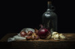 Still life with a glass bottle
