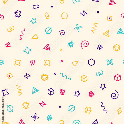 Geometric sweets seamless vector pattern. Abstract vector illustration with geometric elements, shapes.