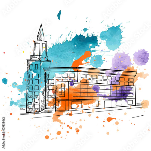 Keuken foto achterwand Vrouw gezicht sketch of a building with watercolor background
