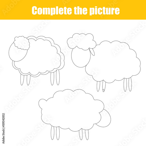 Complete the picture children drawing game