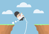 Businessman pole vault across the cliff but he fail
