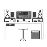 Musician workspace vector thin line illustration.