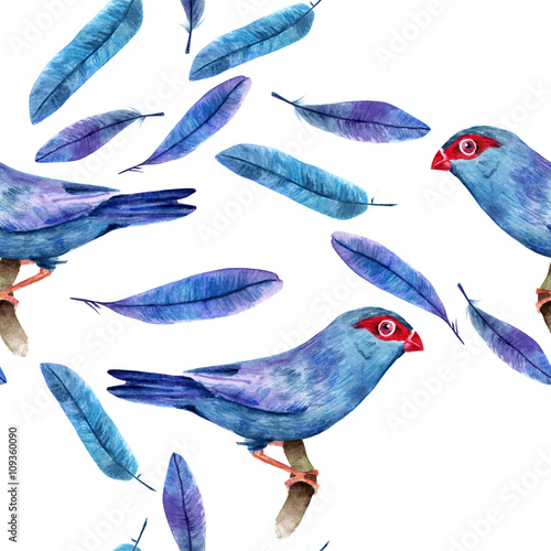 Cotton fabric Seamless background pattern of watercolor blue bird and feathers