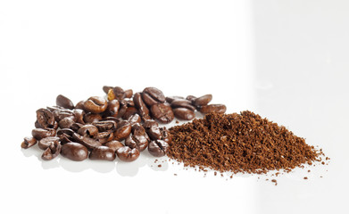 black coffee grains and Grinded