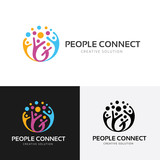 Fototapety People connect logo.communication logo. family logo. vector logo template