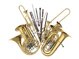 Wind musical instruments isolated on white