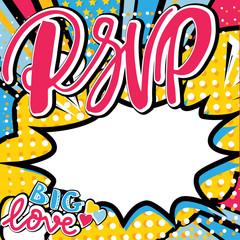 RSVP wedding card in pop art style with hand written type. Bang, explosion decorative halftone poster illustration.
