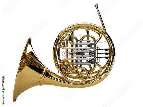 Fototapeta Aged french horn isolated on white background