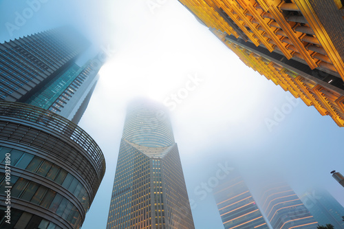 Poster Shanghai Lujiazui  architectural backgrounds fog Night