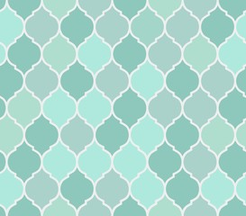Seamless pattern turquoise tiles, vector