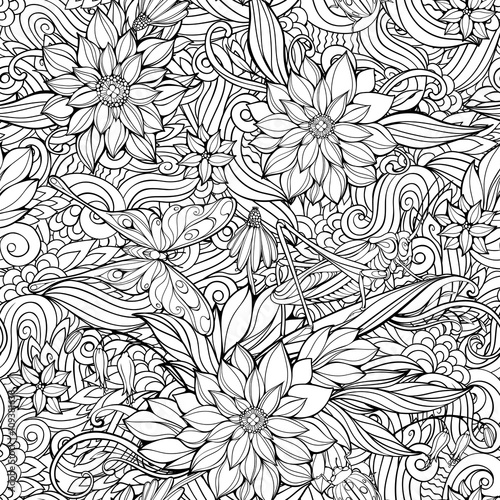 Coloring page with seamless pattern of flowers, butterflies and
