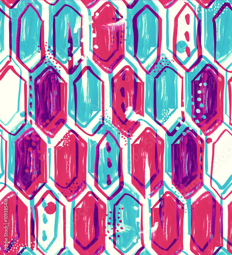 Seamless pattern design with watercolor vertical hexagons, dots, lines, brush strokes and abstract shapes, hi-res background for web and print - 109385418