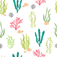 Watercolor seamless pattern with corals, seaweeds, shells and stones. Underwater algae. Vector watercolor marine background.