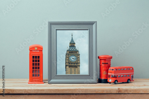 Foto op Plexiglas New York TAXI Poster mock up template with London telephone booth and Big Ben Tower. Travel and tourism concept.