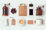 Coffee shop mock up template for branding identity design. View from above. Flat lay - 109394215