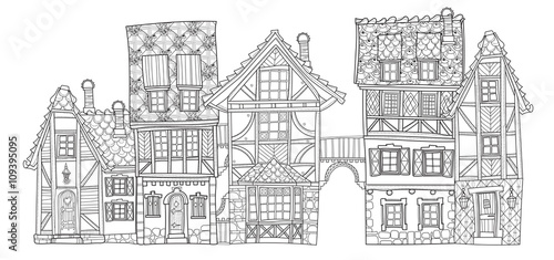 Vector cute fairy tale town doodle - 109395095