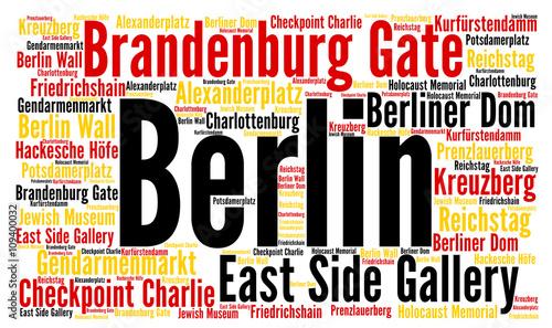 Naklejka Berlin city in Germany word cloud